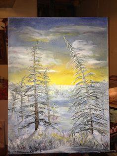 Winter scene, oil on canvas, artist: Kare Dreher