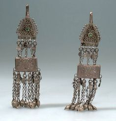 Afghanistan | Hair ornament; metal (silver), glass | Purchased 1963, Kabul bazaar