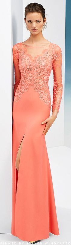 Beaded crepe and lace cocktail dress. With V-neckline, long lace sleeves and skirt with front slit. Evening Party Gowns, Coral, Couture Collection, Lace Sleeves, Women Wear, Formal Dresses, Womens Fashion, Peach, Shades