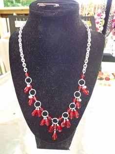 "Handmade red crystal teardrop jewelry set 20"""