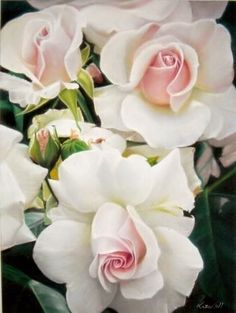 gorgeous white roses with pink hearts #flowers