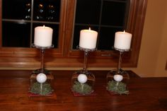 Milestone golf centerpieces. Using wineglasses and candles.   Put your favorite golfer's golf balls under the dome on a tee - Momcrieff