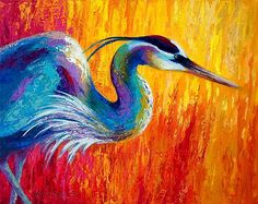 Stalking The Marsh - Great Blue Heron by Marion Rose Acrylic ~ 16 x 20