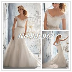 Find More Wedding Dresses Information about New Arrival 2014 Mermaid V Neck With Crystal Wedding Dresses Lace Cap Sleeve Sleeveless Bridal Gown Open back With Train F42,High Quality Wedding Dresses from Suzhou Romantic Wedding Dress Co. Ltd on Aliexpress.com