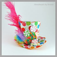 TIny Top Hat - Mini Top Hat - Lollipop, Candy, Pink Feather. $50.00, via Etsy.