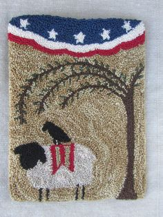 Punch Needle Pattern ~ Sheep - Willow Tree - Crow - Patriotic folk art - Fourth of July - American flag - punchneedle pdf pattern Punch Needle Kits, Punch Needle Patterns, Applique Patterns, American Flag Bunting, Primitive Embroidery, Weavers Cloth, Sheep Art, Felted Wool Crafts, Penny Rugs