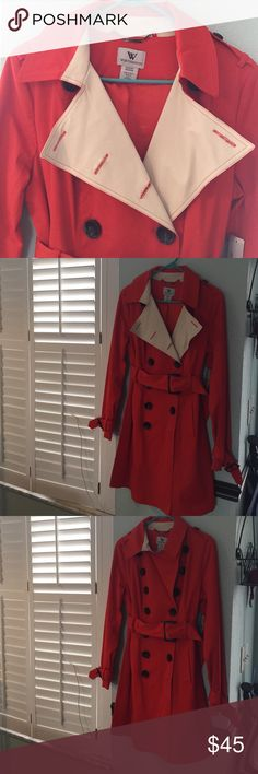 Orange trench/raincoat Worthington Sz Medium, orange/ bone trench/ raincoat. Beautiful brand new coat fully lined, big black buttons and belt buckles. 38in in length, stunning, you will be noticed! Worthington Jackets & Coats Trench Coats