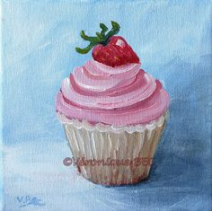 Cupcake for Nath birthday. Acrylic painting on canvas. Acrylique sur toile 20x20cm. Véronique BEC daily painting. Veroniquebec.com Cupcake Painting, Cupcake Art, Ice Cream Painting, Painting & Drawing, Cupcakes, Cupcake Tattoos, Adventure Time Cartoon, Acrylic Painting Inspiration, Kids Canvas Art