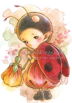 "Ladybug Sprite (completed) by Mitzi Sato-Wiuff * sketch for this pic is on my board ""Artist Mitzi Sato-Wiuff Coloring"