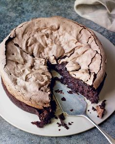 Double-baked chocolate meringue brownie.