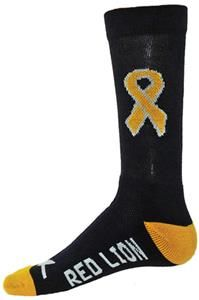 Red Lion Childhood Cancer Gold Ribbon CURE Socks