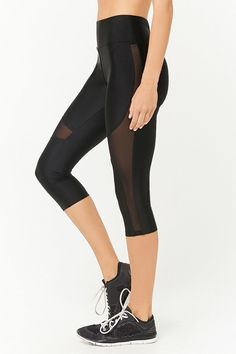 Product Name:Active Mesh Panel Capri Leggings, Category:Activewear, Price:17.9