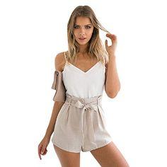 BOMOVO Damen Elegant Overall Sommer In Patchwork Design Sleeveless Rüvkenfrei Jumpsuit Kurz Hose
