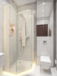 A small shower stall is the perfect solution for cleanliness without spaciousness.