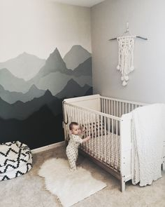 Can I sleep in your crib with you now? Geesh, this room makes me feel adventurous inside! THIS is my sweet Oakley's crib against her new mountain wall. She shares a pretty large (old converte… (Diy Baby Room)