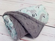 Grey Fox Minky Baby Blanket - Perfect for the woodland nursery.  Available in many colors!