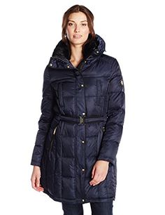 d5f3a31c52f2 Vince Camuto Womens Belted Down Coat with Faux Fur Collar Navy Medium -- To  view