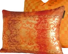 High Energy Gold and Orange Throw Pillows 12X16