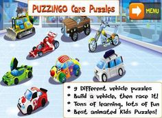 FREE app for a limited time! PUZZINGO Cars Puzzles Games for Kids & Toddlers for iPad & iPhone