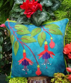 Fuchsia Fancy Wool Applique Throw Pillow by the Wooly Lady