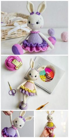 Crochet Art, Crochet Animals, Crochet Rabbit Free Pattern, Amigurumi Patterns, Crochet Patterns, Rabbit Toys, Slip Stitch, Yarn Colors, Crochet Earrings