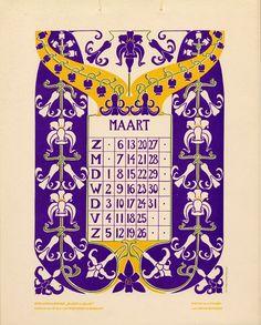 Bloem en blad (Flower and leaf). Vintage Calendar, Art Calendar, Calendar Girls, Calendar Pages, Calendar Design, Vintage Playing Cards, Vintage Cards, Vintage Images, Illustrations
