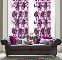 Tuscany Floral Purple Print Taped Lined Curtain - Curtains UK