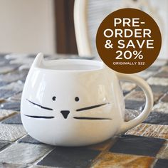 PREORDER  2 Color Options  Cute Cat Mug  12 by TickledTealBoutique, $17.50  @Liz Ashbaugh @Laura McClellan