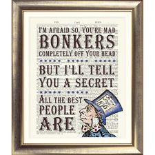 ART PRINT ANTIQUE BOOK PAGE DICTIONARY Alice in Wonderland MAD HATTER Bonkers