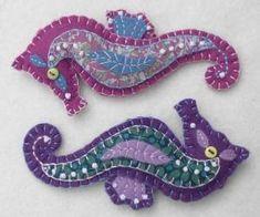 Handmade Felt Seahorse Ornament, Felt Christmas ornament by Makia55