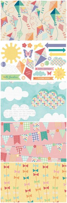 Let's go fly a kite! Make summer cards with these sweet kite free digital papers for card making and papercrafts.