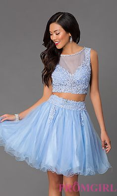 Short Two Piece Tulle Dress 6058 at PromGirl.com
