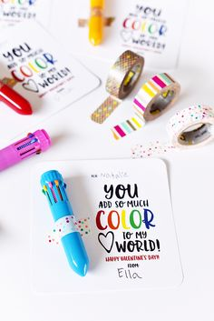 Pen N' Paper Flowers: FREE | You Color My World Valentine