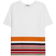 Womens T-Shirts MSGM White Striped Jersey And Cotton T-shirt ($205) ❤ liked on Polyvore featuring tops, t-shirts, shirts, cotton t shirt, striped t shirt, white t shirt, t shirts and white stripes shirt
