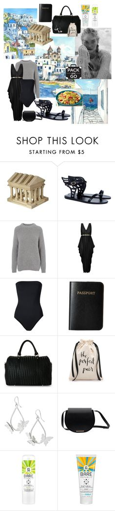 """""""Greece by night"""" by egyptianbloom ❤ liked on Polyvore featuring Guidecraft, Ancient Greek Sandals, Barbour, City Chic, ONIA, Vera Bradley, Deux Lux, Kate Spade, black and Packandgo"""