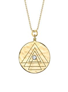 ARK Fine Jewelry - Diamond Creation Necklace    Handcrafted in 18-karat yellow gold.  Detailed in white diamond.  Pendant measures 1 1/8-in. in diameter.  Necklace measures 24-in. long.  Finished with a spring ring clasp.