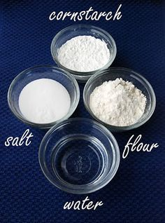 recipe for clay jewelry. 3/4 cup flour 1/2 cup cornstarch 1/2 cup salt 1 tbsp warm water or as needed {I used 8 tablespoons} liquid tempera paint & paint brush