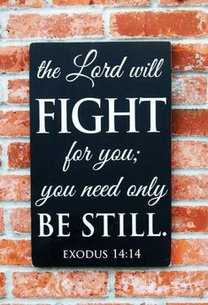 Exodus 14:14 the Lord will FIGHT for you; you need only BE STILL.