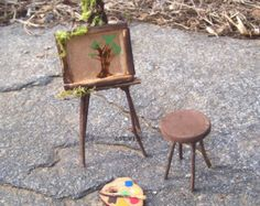 Plant Pot Accessory ARTIST EASEL Miniature Garden Woodland Fairy Wedding Cake Topper Furniture Flower Pot Decor
