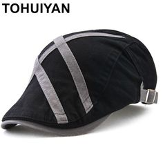 Happy-L Hat Color : Black, Size : XXL Male Fall and Winter Student Hat Leather Flat Cap,Leisure Fashion Cap.
