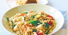 The tasty flavours of this risotto are just perfect for the warmer weather ahead, and using a BBQ chicken saves you time in the kitchen.