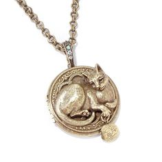 """Cat Locket Necklace - PURRSON - SWEET ROMANCE 3-D Feline Bronze finish Kitty pendant Fine 3-D sculpture work Made in the USA - The work of Shelley Cooper and Sweet Romance Size: Length: 32"""" Pendant: 2"""