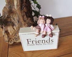 Polymer Clay 'Friends' on wooden block by Trisha Martin