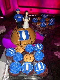 Duke mini wedding cake and cupcakes blue devils basketball