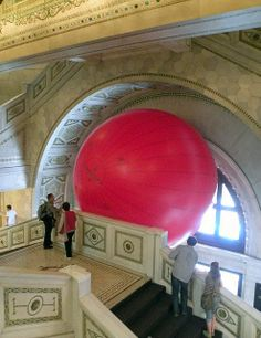 RedBall Project by Kurt Perschke at the Chicago, Illinois, Cultural Center - photo by mmmmarshall, via Flickr
