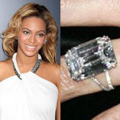 Jay-Z proposed to Beyonce in 2008 with an 18-carat flawless diamond by Lorraine Schwartz, worth more than Five million dollars. The emerald cut center stone is set in platinum.Read about Beyonce and Jay-Z's wedding.