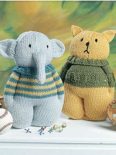Knit Animal Friends Knitting Pattern Download from e-PatternsCentral.com -- Choose from 6 adorable animal designs including a Cat, Dog, Pig, Bear, Rabbit and Elephant. They're perfect gifts for baby showers, birthdays and holidays!