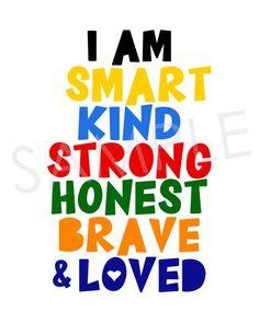 I Am Smart Kind Strong Honest Brave Loved Kids Room Wall | Etsy