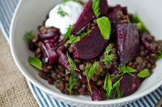 Balsamic beets & lentils: roast beets & red onion. Dress with orange juice, olive oil, herbs & balsamic. Toss with lentils & top with Greek yogurt.