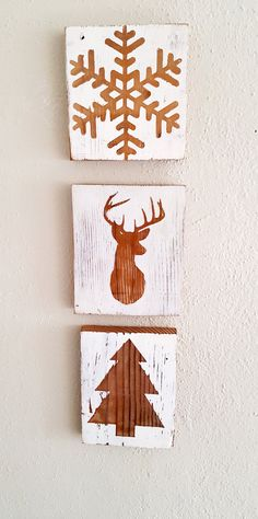 Rustic Christmas Prints on salvaged barn wood https://www.etsy.com/listing/249763140/rustic-christmas-decor-snowflake-sign